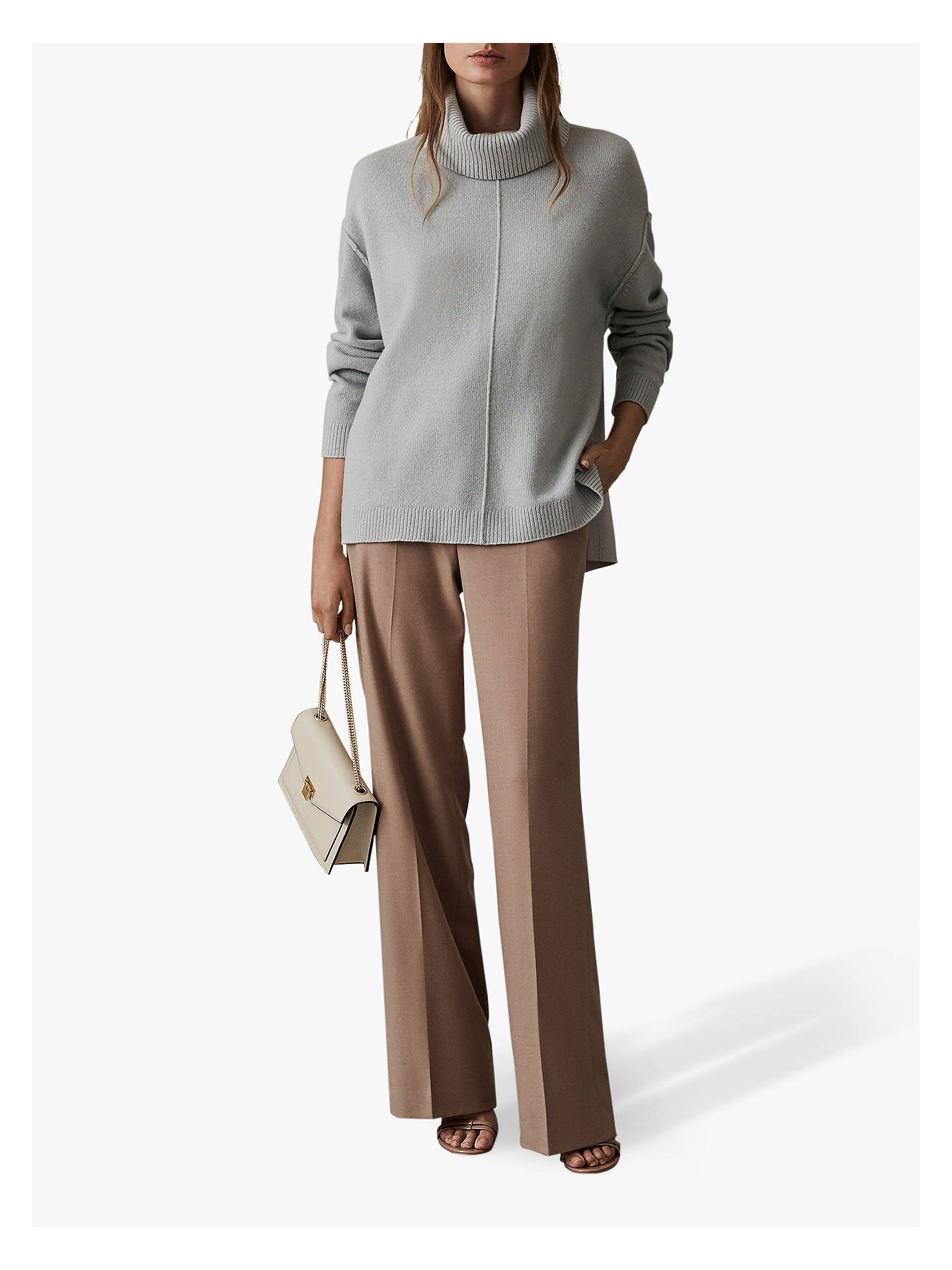 Buy Reiss Cleo Wool Cashmere Blend Roll Neck Jumper, Pale Blue, XS Online at johnlewis.com