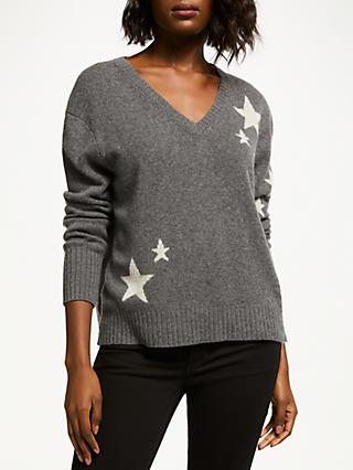 360 Sweater Jayla Star Print V-Neck Sweater, Charcoal/Chalk