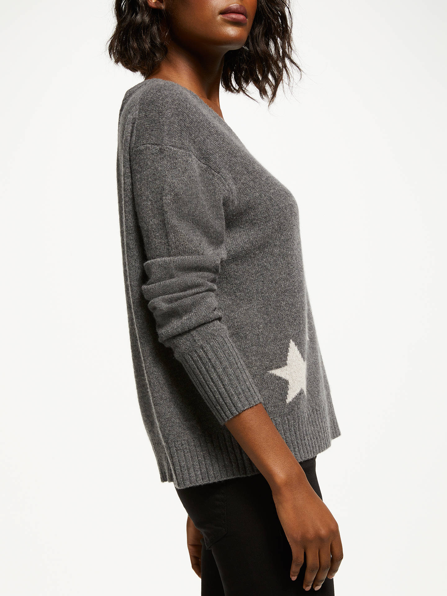 Buy360 Sweater Jayla Star Print V-Neck Sweater, Charcoal/Chalk, M Online at johnlewis.com