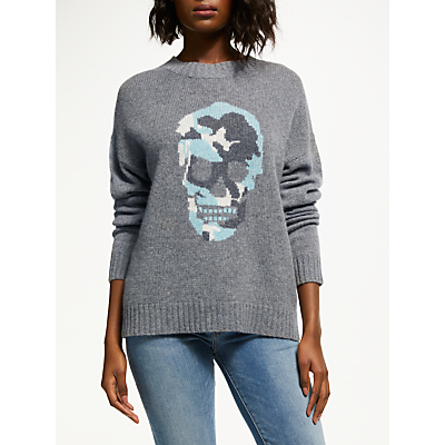 Image of 360 Sweater Felice Skull Print Jumper, Grey/Multi