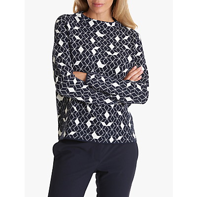 Betty & Co Geometric 3D Knitted Jumper, Dark Blue/White