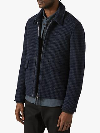 Jigsaw Houndstooth Bomber Jacket, Airforce Blue