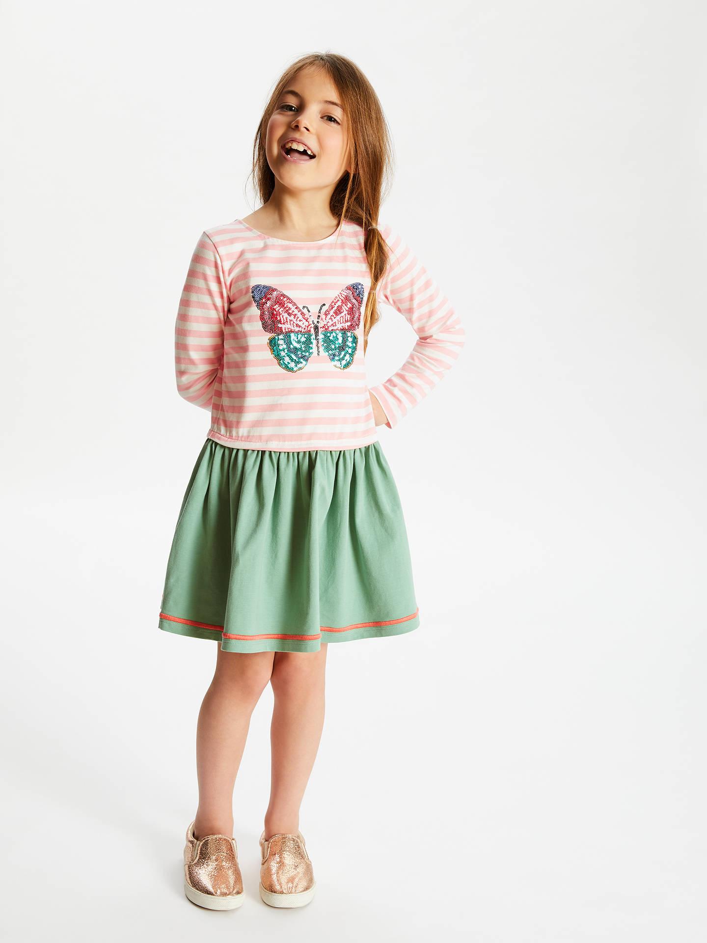 612b7fcbf8 Buy John Lewis & Partner Girls' Butterfly Sequin Dress, Pink/Green, 12 ...