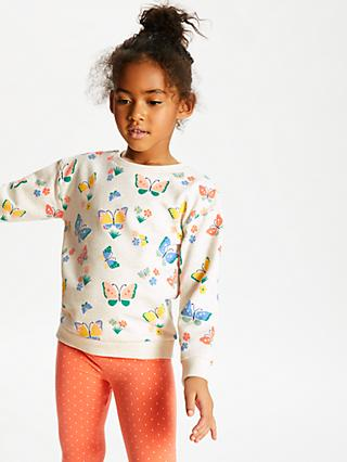 John Lewis & Partners' Girls' Butterfly Sweatshirt, Neutral