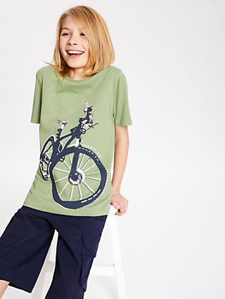 John Lewis & Partners Boys' Bicycle Print T-Shirt, Green