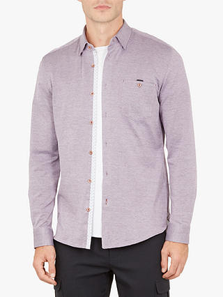 Buy Ted Baker Timothy Long Sleeve Shirt , Mid Purple, 16 Online at johnlewis.com