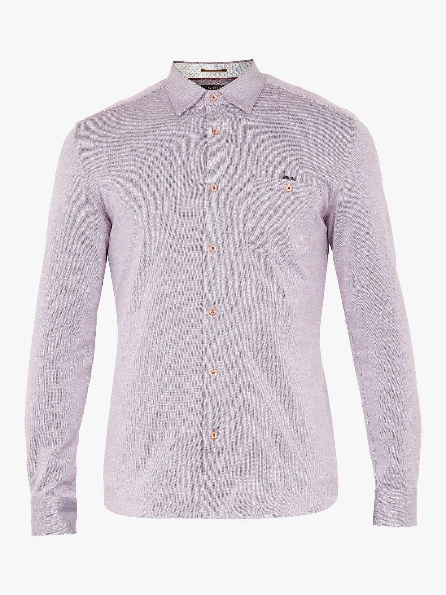 Buy Ted Baker Timothy Long Sleeve Shirt , Mid Purple, 16.5 Online at johnlewis.com