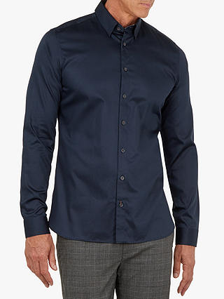 Buy Ted Baker T for Tall Plate Long Sleeve Satin Stretch Shirt, Navy, 16.5 Online at johnlewis.com