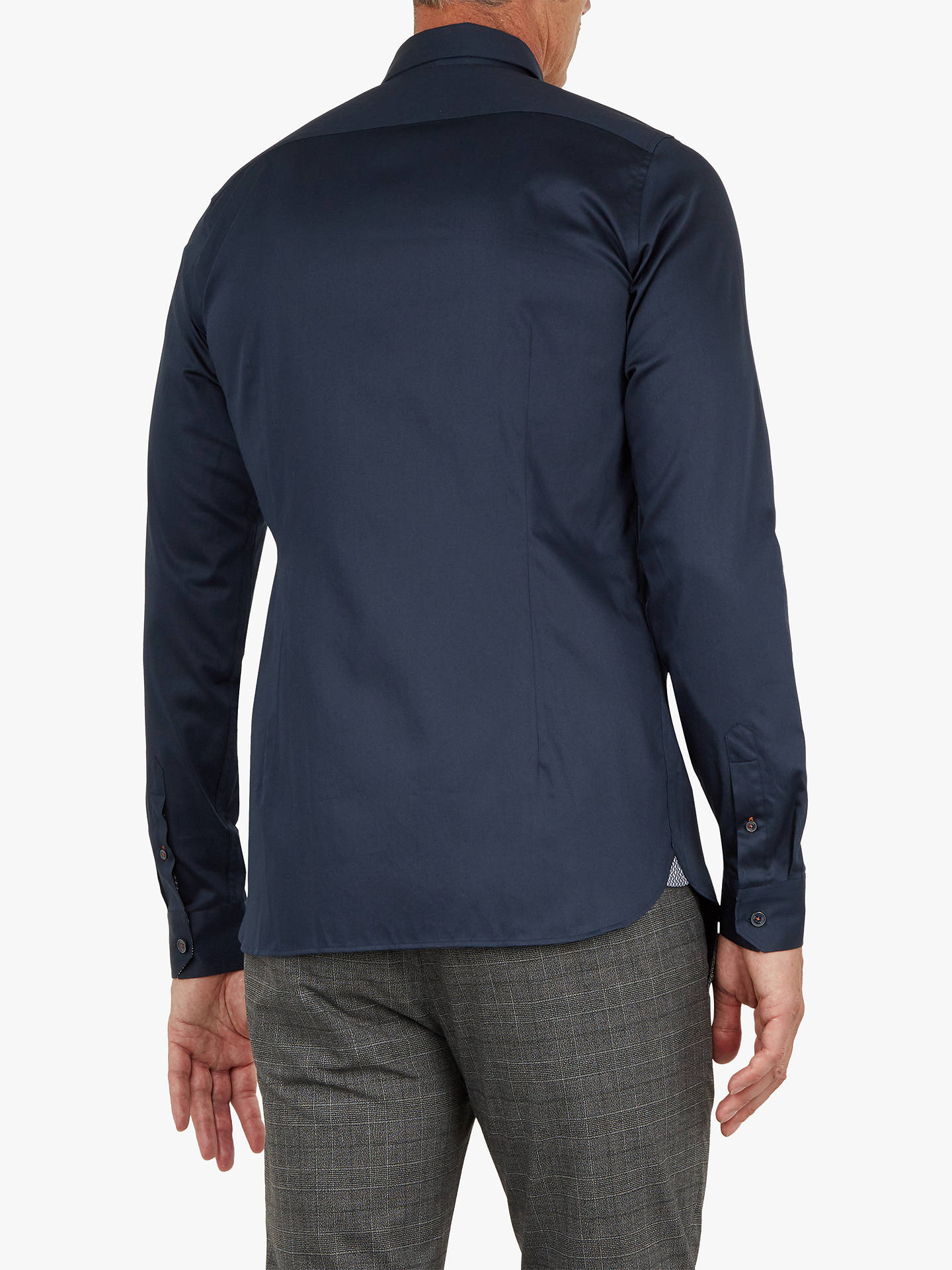 BuyTed Baker T for Tall Plate Long Sleeve Satin Stretch Shirt, Navy, 16.5 Online at johnlewis.com