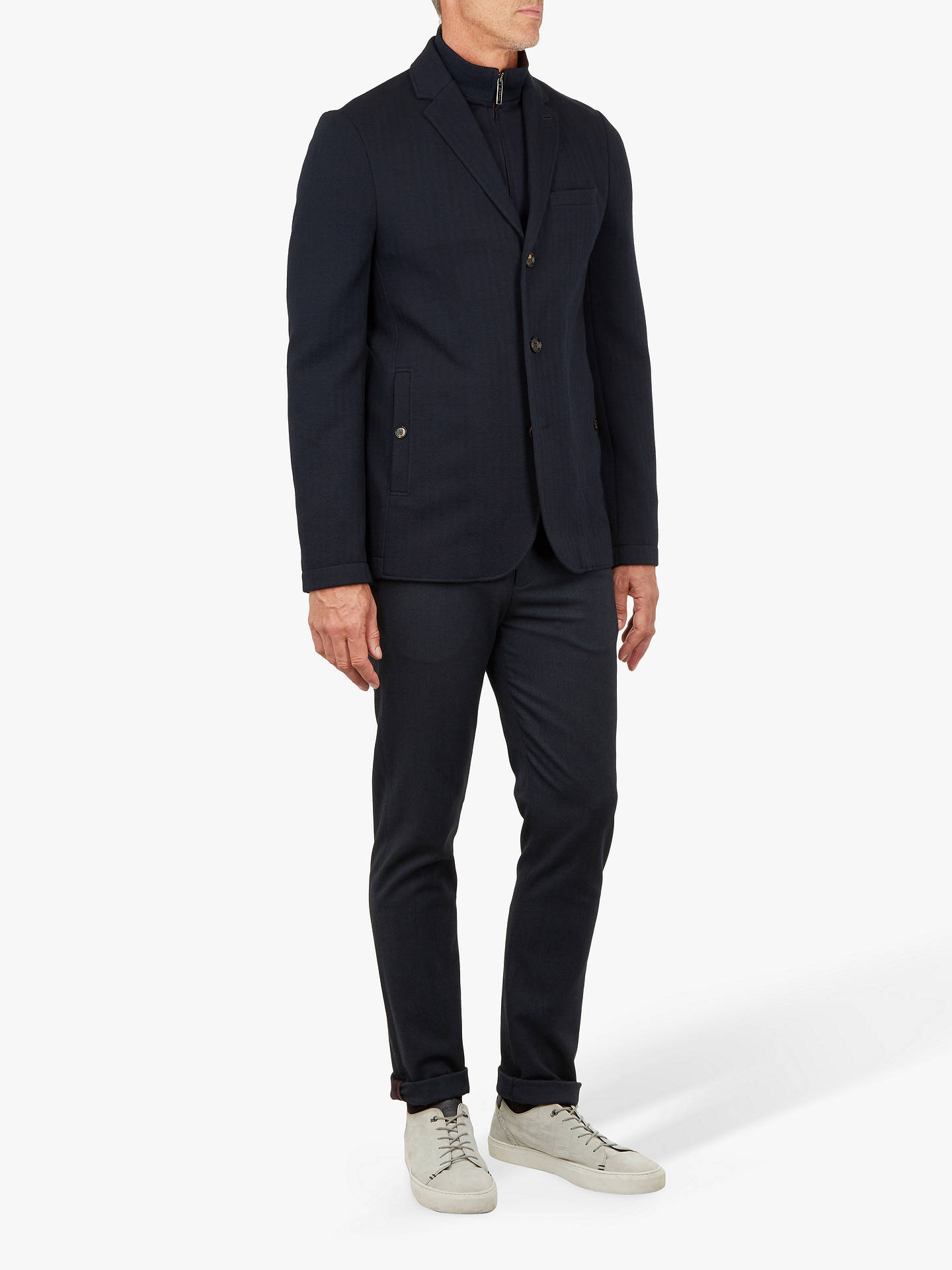 BuyTed Baker T for Tall Toastie Herringbone Jersey Jacket, Navy, XL Online at johnlewis.com