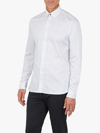 Buy Ted Baker T for Tall Pimlico Long Sleeve Geometric Shirt, Mid Blue, 15.5 Online at johnlewis.com