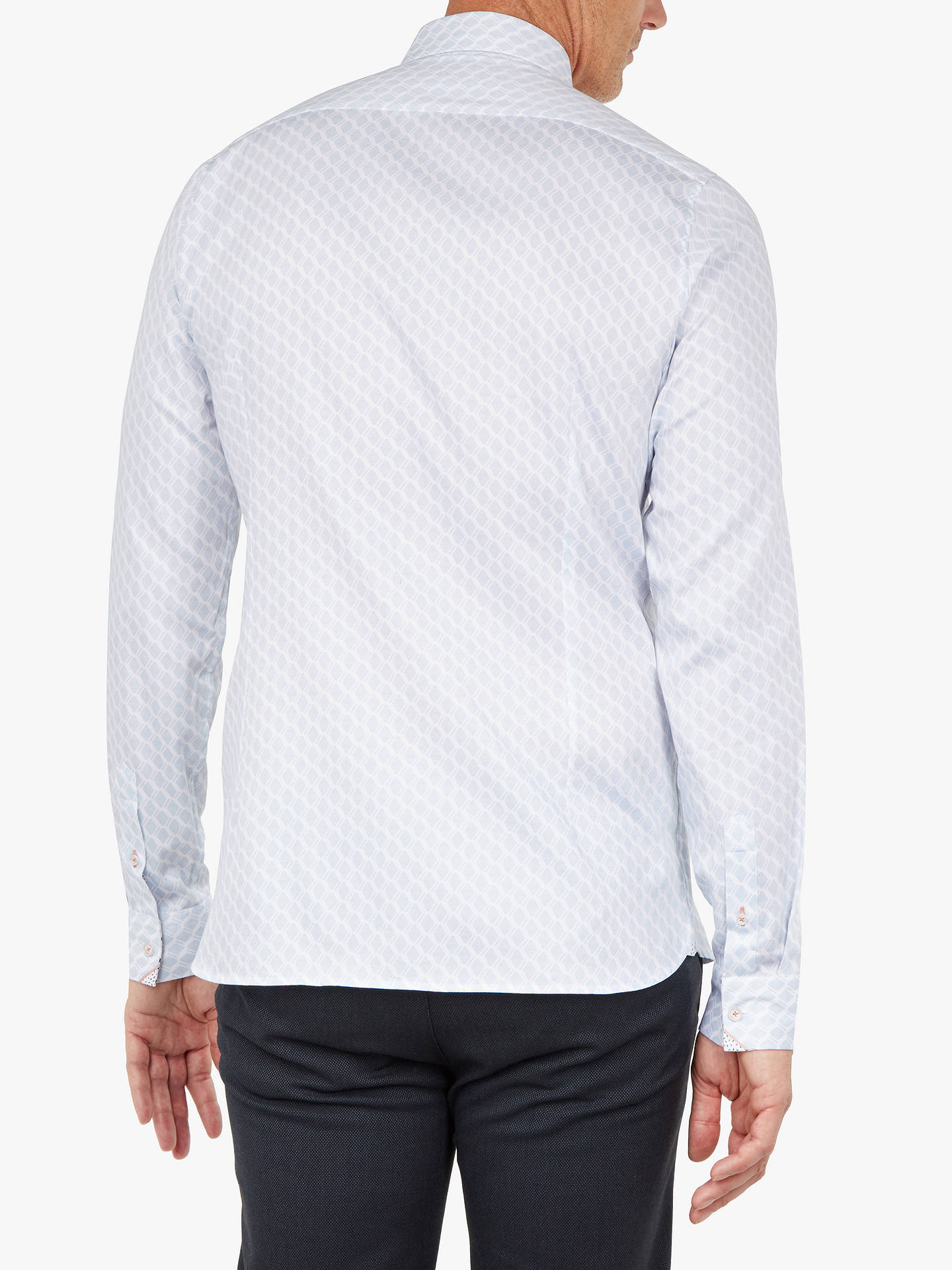 BuyTed Baker T for Tall Pimlico Long Sleeve Geometric Shirt, Mid Blue, 15.5 Online at johnlewis.com