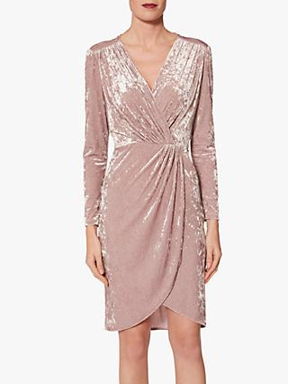 Gina Bacconi Roksana Velvet Dress, Dusty Pink