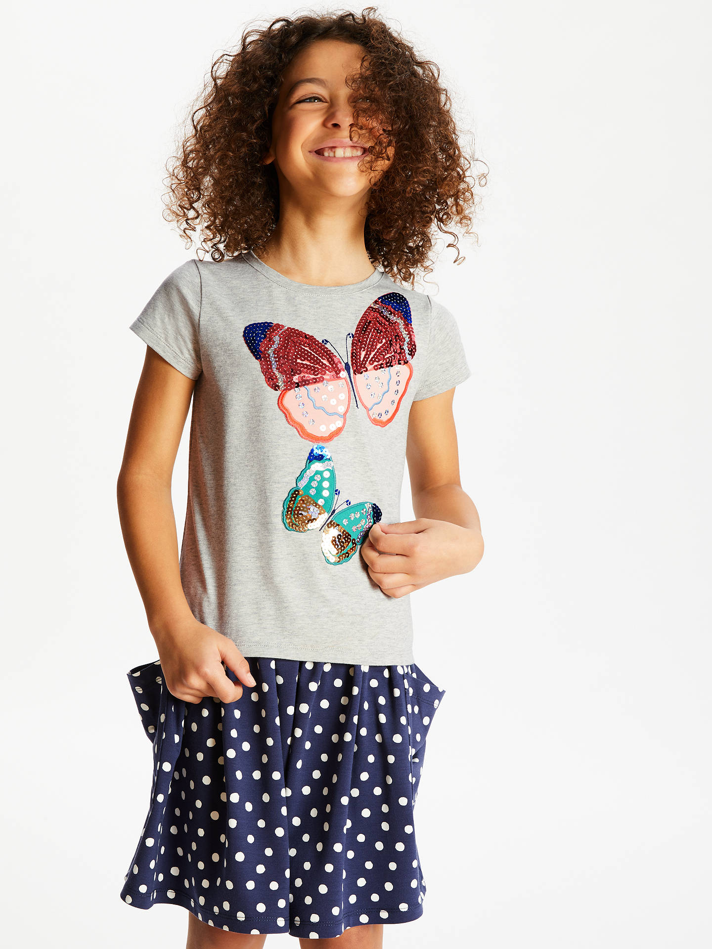 bba8e0fa Buy John Lewis & Partners Girls' Butterfly Sequin T-Shirt, Grey, 12 ...