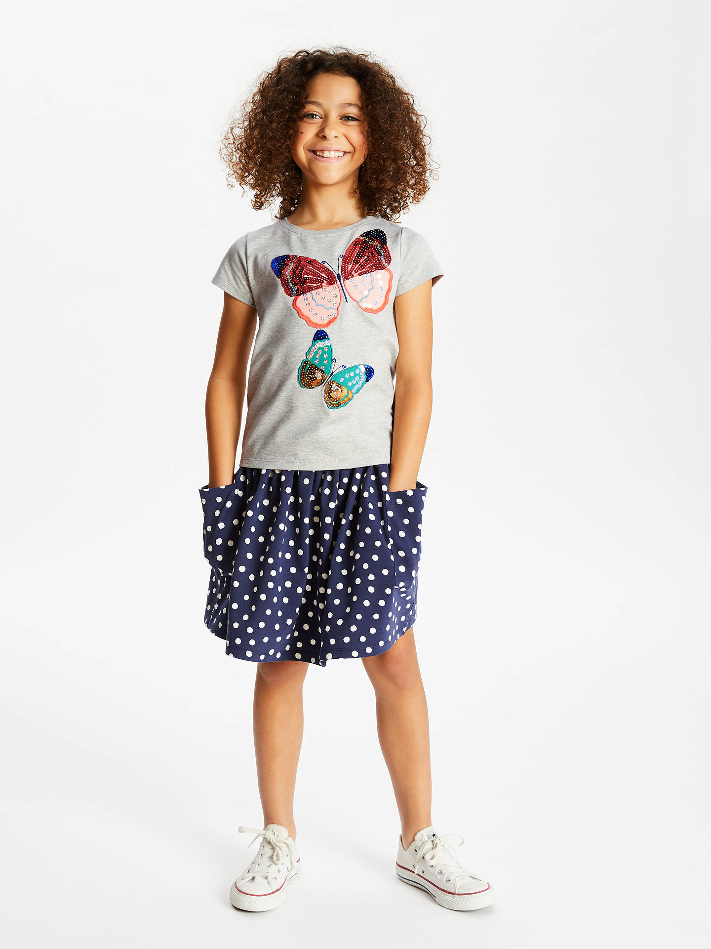 a5e3c789 ... Buy John Lewis & Partners Girls' Butterfly Sequin T-Shirt, Grey, 12 ...