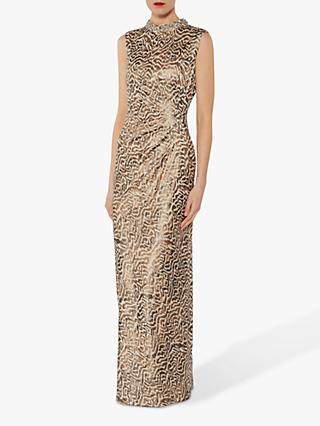 Gina Bacconi Alvira Beaded Collar Maxi Dress, Beige