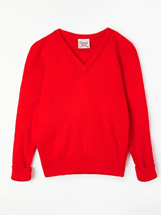 John Lewis & Partners School V-Neck Jumper, Red