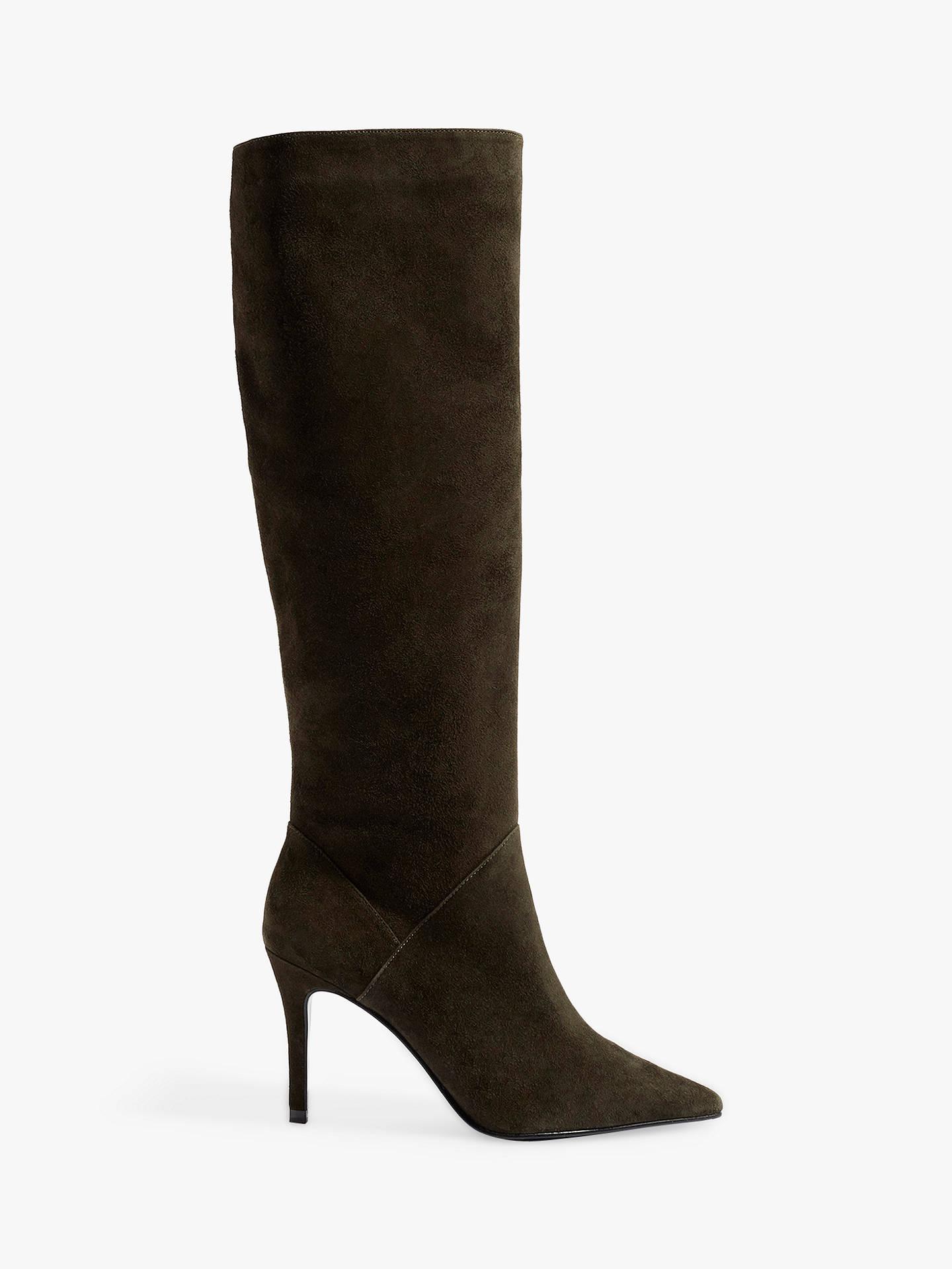 e1f20a3330d0c9 Buy Karen Millen Stiletto Heel Knee High Boots, Olive Leather, 3 Online at  johnlewis ...