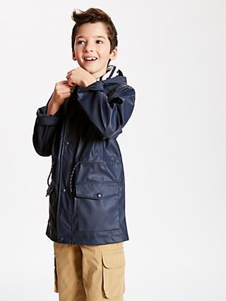John Lewis & Partners Boys' Classic Rain Mac Jacket, Navy