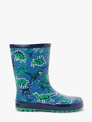 John Lewis & Partners Children's Dinosaur Wellington Boots, Blue/Green