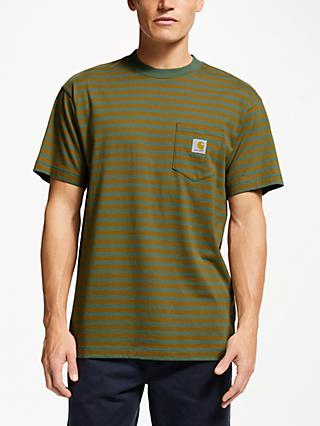 b26fe1ef29 Carhartt WIP Barkley Short Sleeve Stripe Pocket T-Shirt, Green/Hamilton  Brown