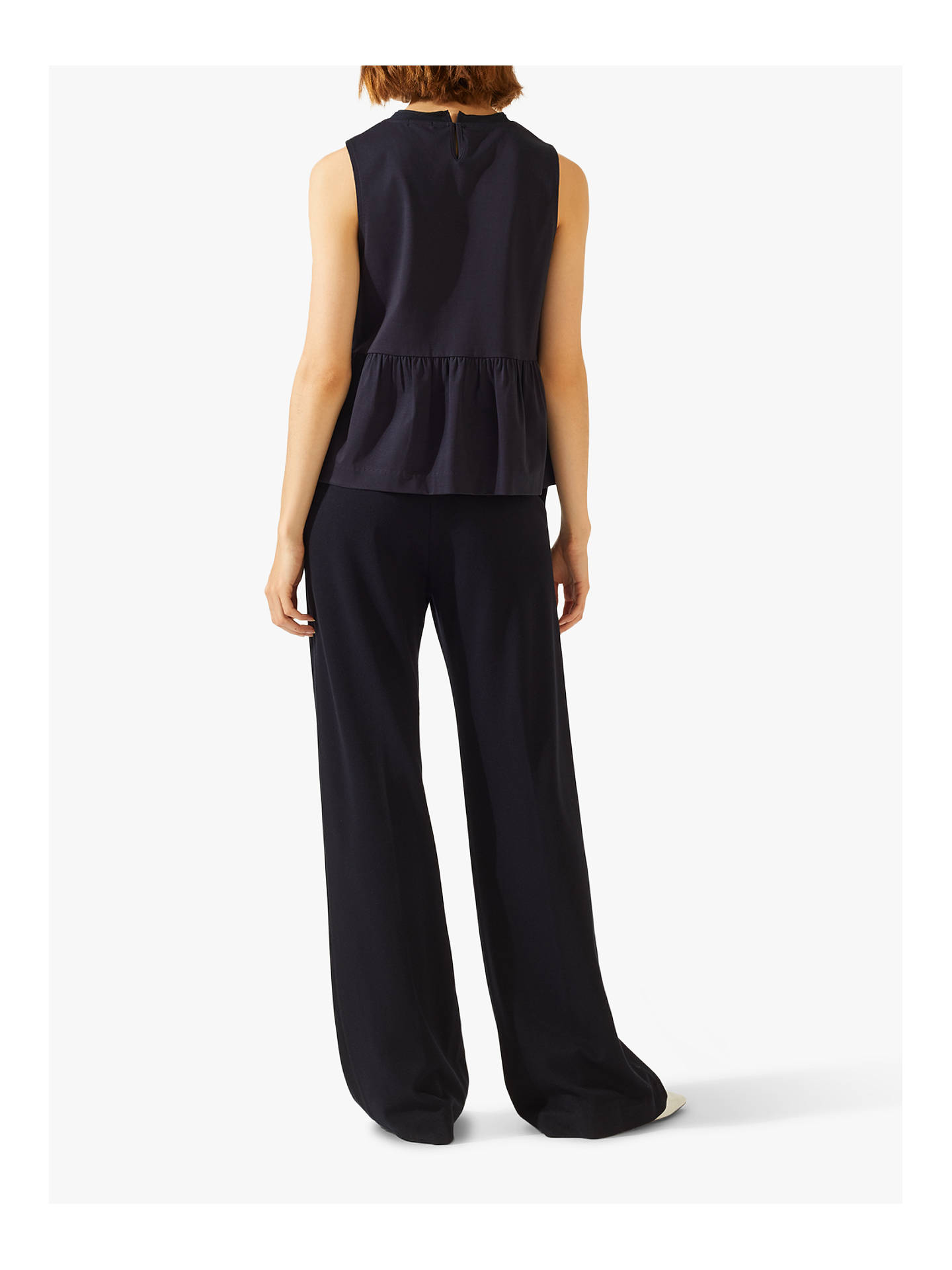 Buy Jigsaw Sport Luxe Jersey Wide Trousers, Navy, 6 Online at johnlewis.com