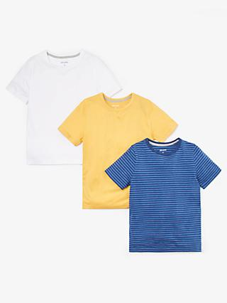 John Lewis & Partners Boys' T-Shirts, Pack of 3, Blue/Yellow