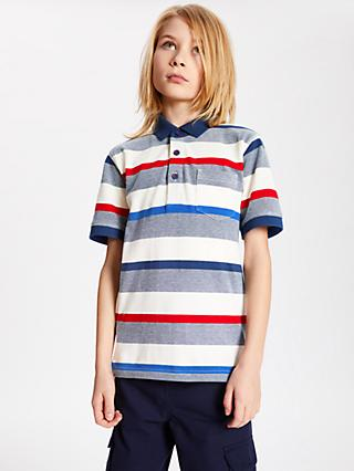 John Lewis & Partners Boys' Stripe Polo Shirt, Blue/Red