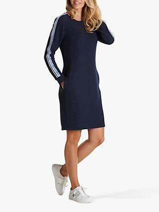 Betty Barclay Ribbed Stripe Sleeve Dress, Night Sky