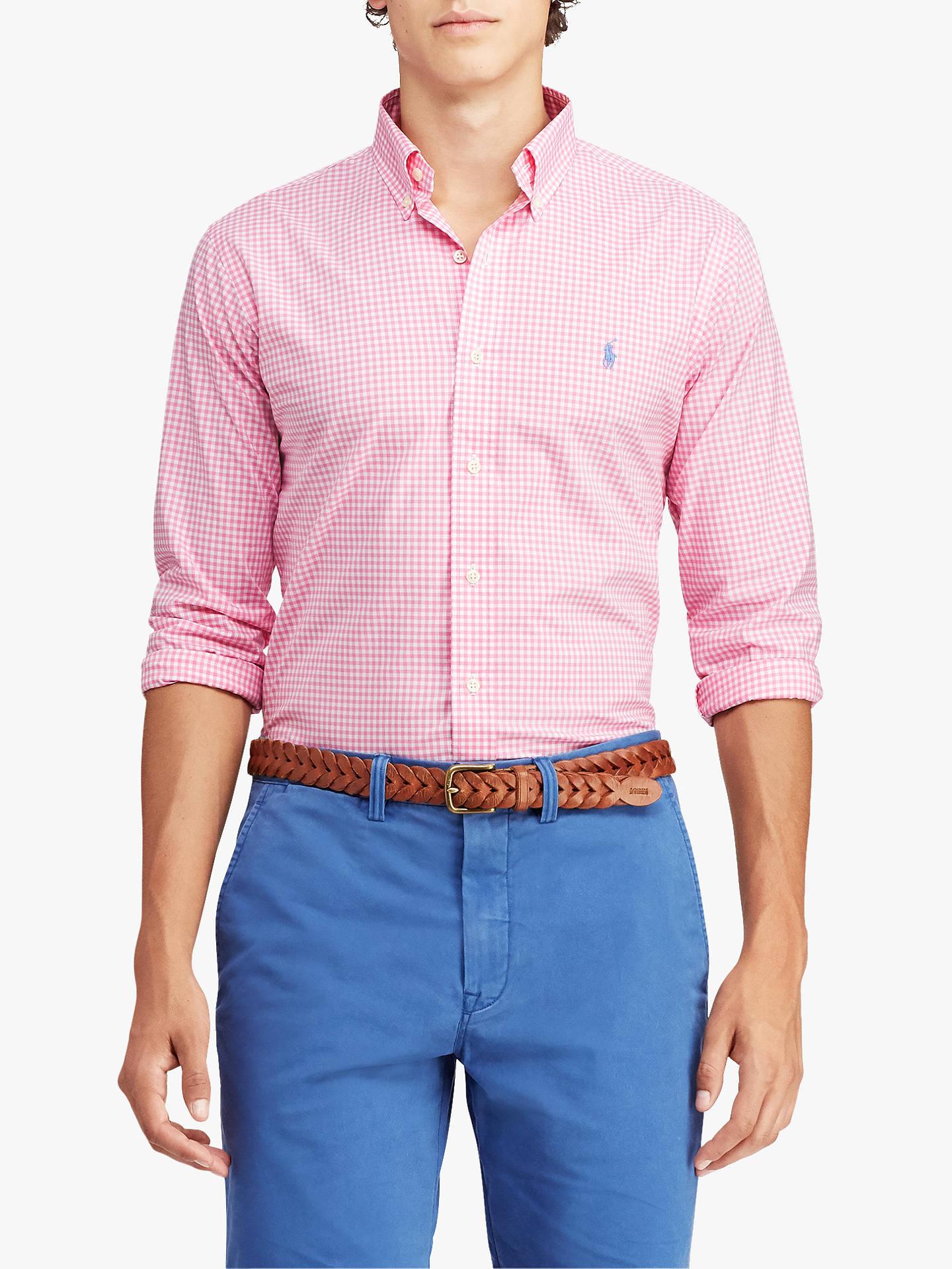 6d7cc08e Polo Ralph Lauren Classic Fit Gingham Shirt, Pink/White at John ...