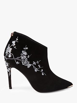 Ted Baker Novely Embroidered Pointed Ankle Boots, Black