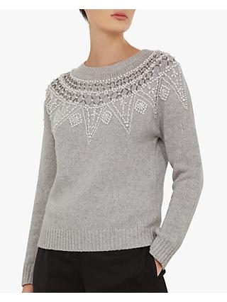 Ted Baker Corilyn Beaded Jumper, Mid Grey