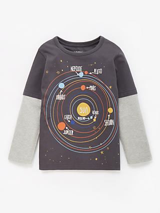 John Lewis & Partners Boys' Planets T-Shirt, Grey