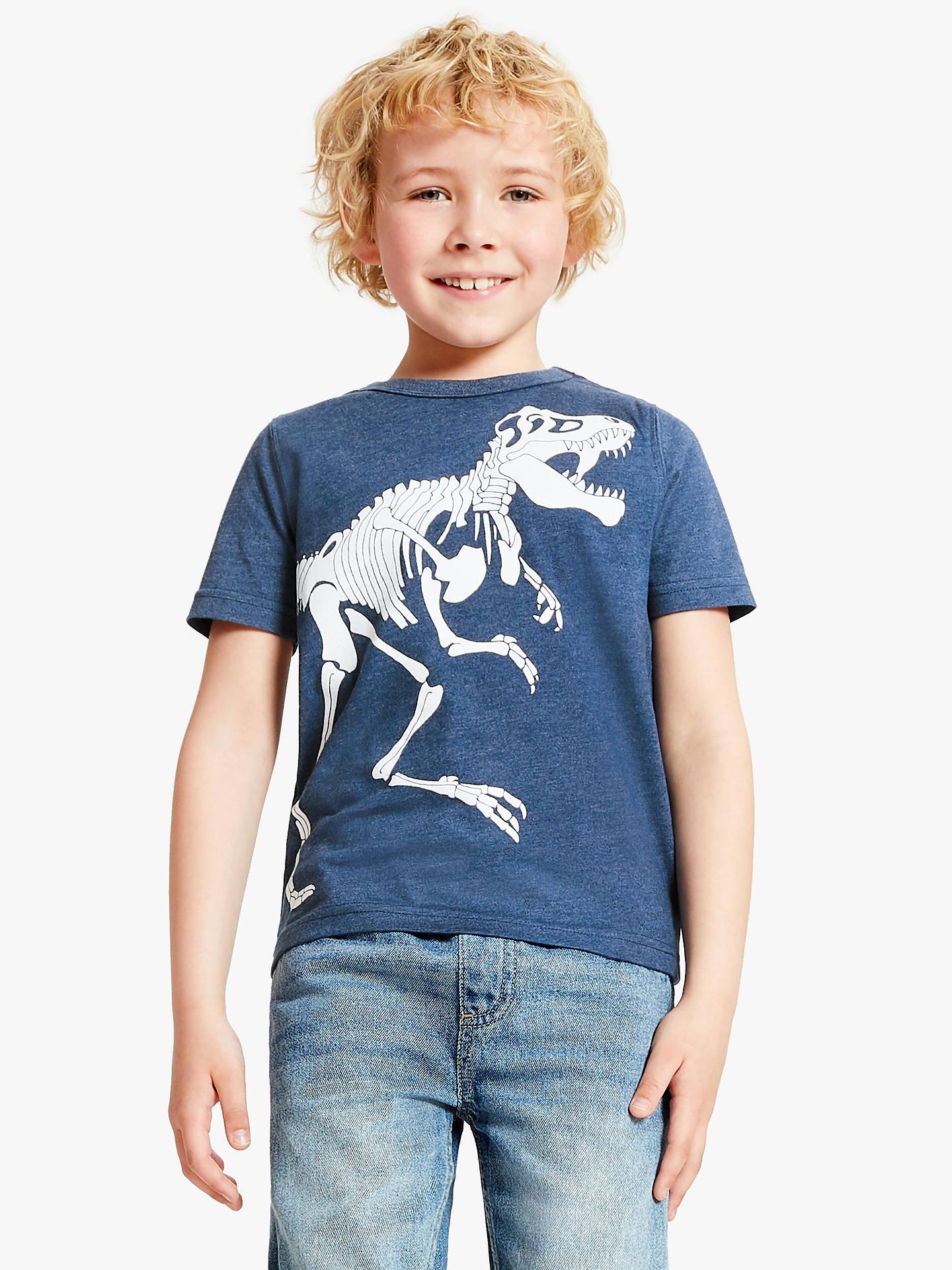 23799b0387e6a John Lewis & Partners Boys' Glow In The Dark T-Rex Skeleton T-Shirt ...