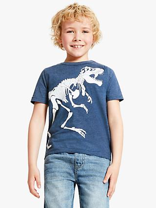 John Lewis & Partners Boys' Glow In The Dark T-Rex Skeleton T-Shirt, Blue