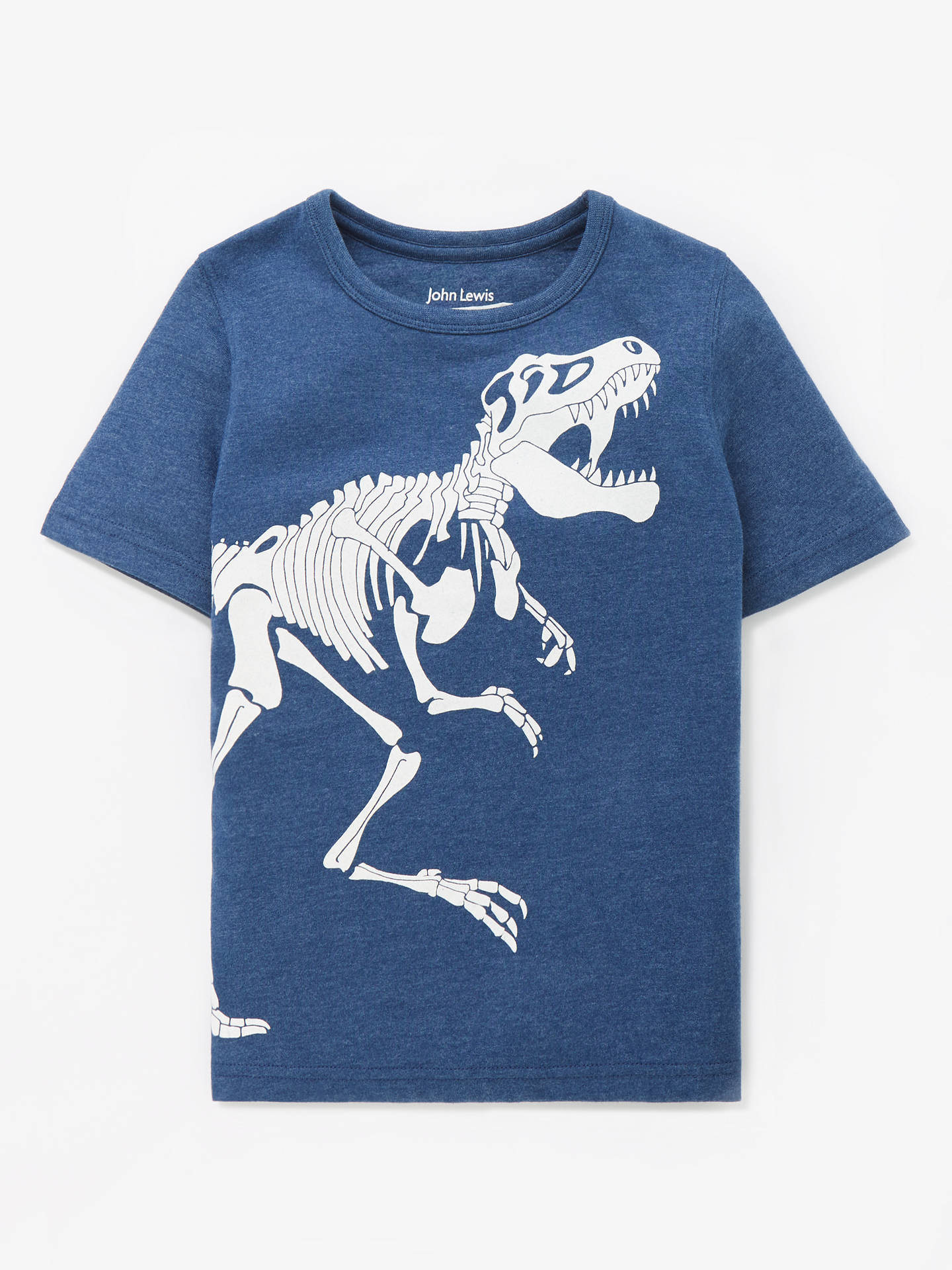 21901473 ... Buy John Lewis & Partners Boys' Glow In The Dark T-Rex Skeleton T ...