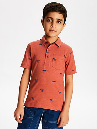 John Lewis & Partners Boys' Dinosaur Polo Shirt, Red