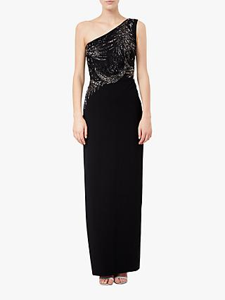 Adrianna Papell Asymmetric Embellished Evening Dress, Black