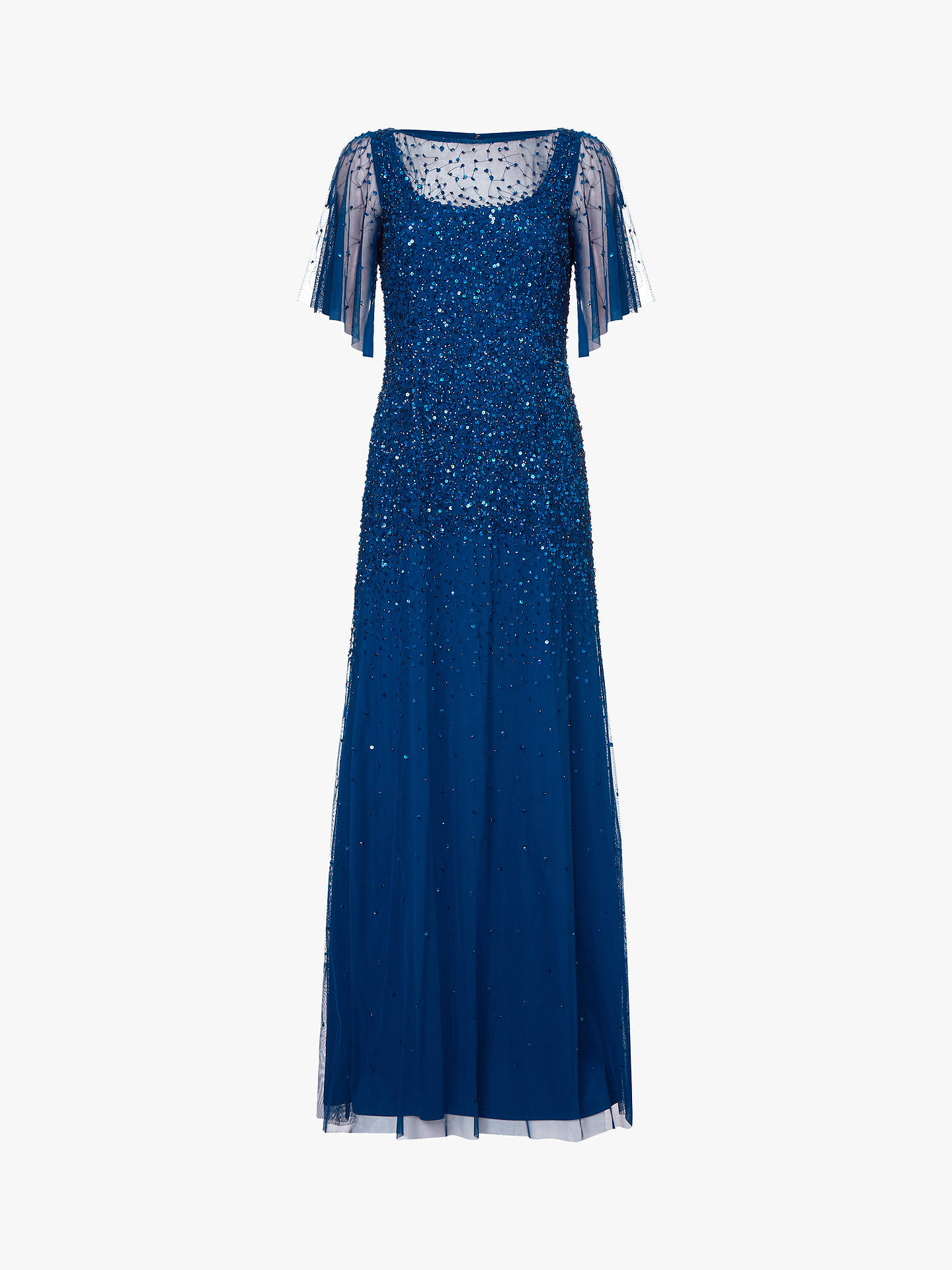 BuyAdrianna Papell Tulle Overlay Sequin Maxi Dress, Blue, 14 Online at johnlewis.com