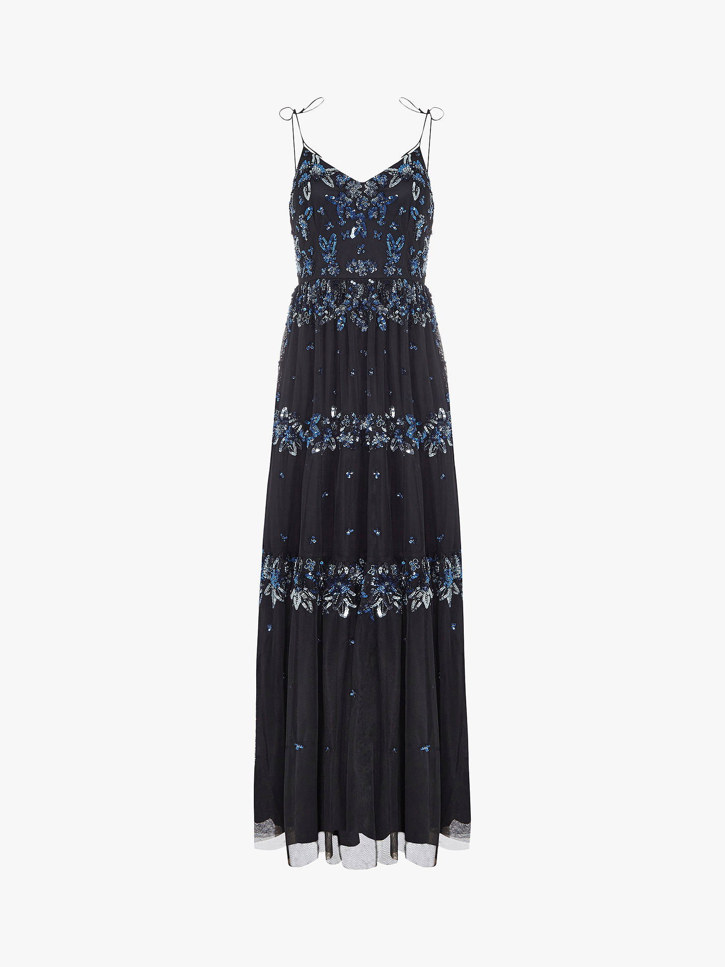 BuyAdrianna Papell Botanical Beaded Maxi Dress, Blue, 8 Online at johnlewis.com