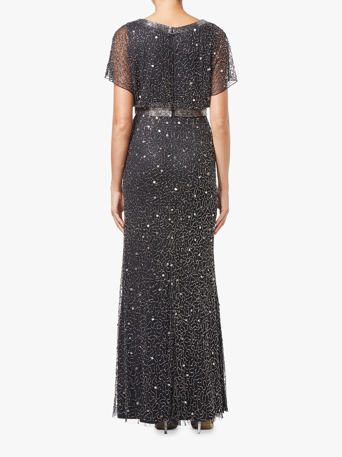 BuyAdrianna Papell Abstract V-Neck Beaded Dress, Grey, 8 Online at johnlewis.com
