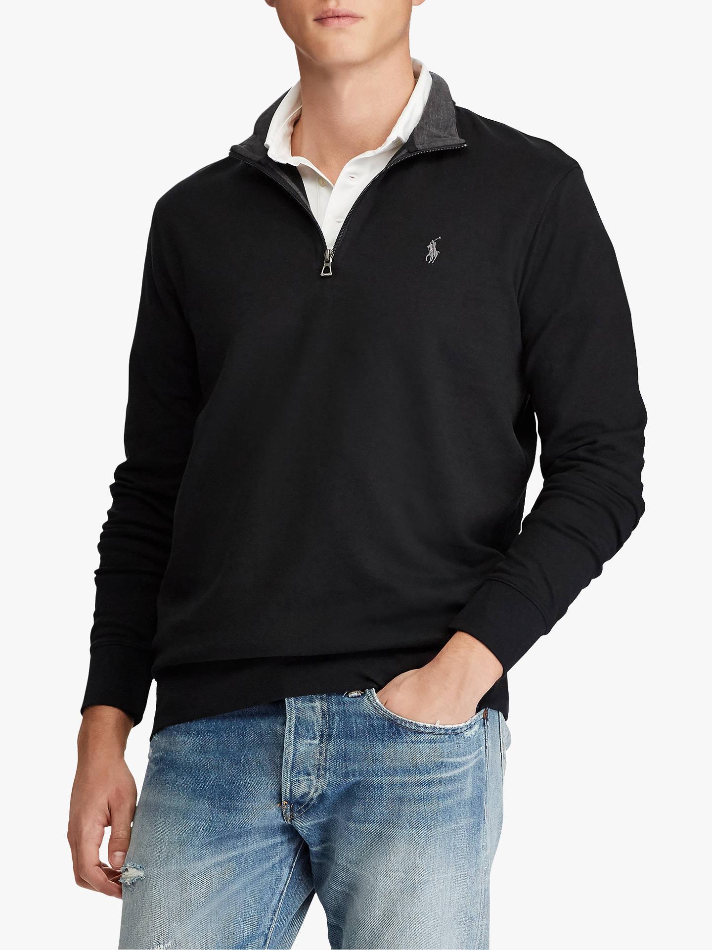 f8cfb9202322eb Buy Polo Ralph Lauren Half Zip Sweatshirt, Polo Black, XL Online at  johnlewis.