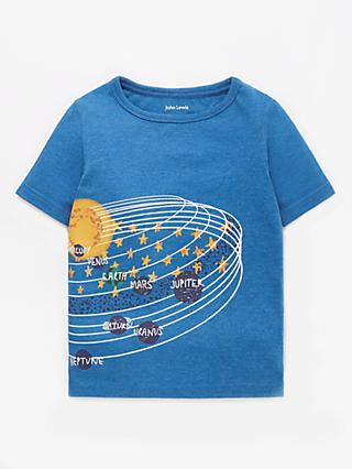 John Lewis & Partners Boys' Planet Print T-Shirt, Blue