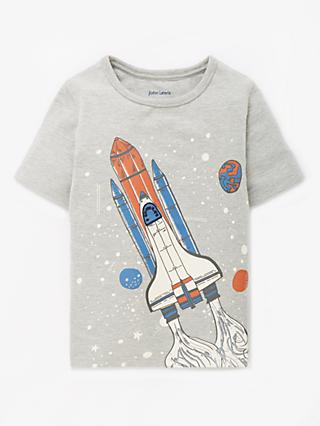 John Lewis & Partners Boys' Rocket Print T-Shirt, Grey