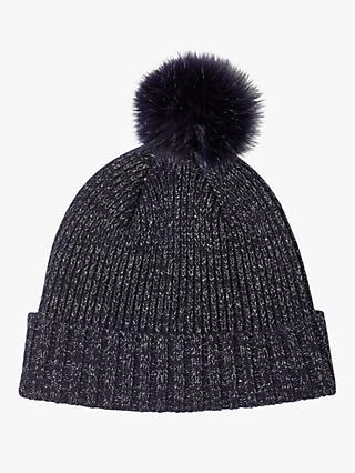 5a6e2b48213 Jigsaw Metallic Thread Faux Fur Pom Pom Wool Beanie Hat