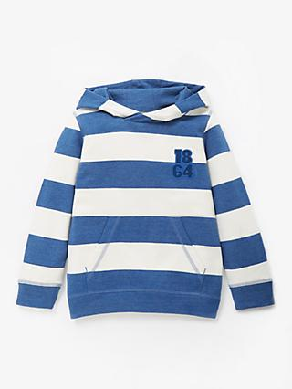 John Lewis & Partners Boys' Bar Stripe Hoodie, Blue/White