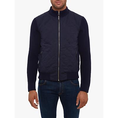 Hackett London Hybrid Knit Bomber Jacket, Navy Blue