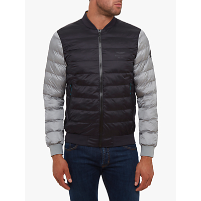 hackett london aston martin padded bomber jacket, black/grey
