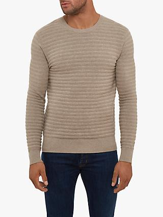 Hackett London Garter Stripe Crew Neck Jumper, Taupe