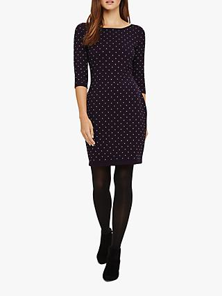Phase Eight Helene Heat Fix Shift Dress, Blackcurrant